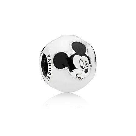 Disney, Expressive Mickey Charm, White & Black Enamel