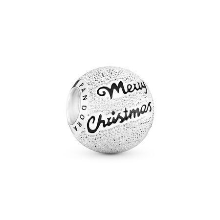 Merry Christmas Charm, Black Enamel