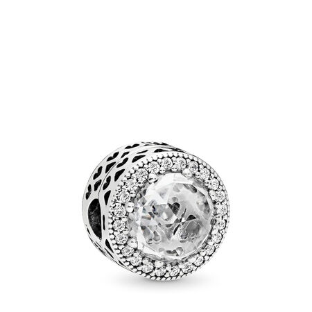 Radiant Hearts Clip, Clear CZ, Sterling silver, Cubic Zirconia - PANDORA - #796239CZ
