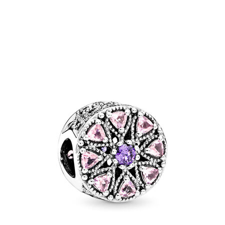 Shimmering Medallion Charm, Multi-Colored CZ, Sterling silver, Pink, Mixed stones - PANDORA - #791974NPRMX