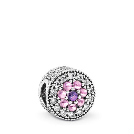 Dazzling Floral Charm, Multi-Colored CZ, Sterling silver, Pink, Cubic Zirconia - PANDORA - #791820PCZMX