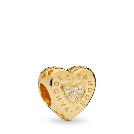 PANDORA Signature Heart Charm, PANDORA Shine™ & Clear CZ, 18ct Gold Plated, Cubic Zirconia - PANDORA - #767375CZ