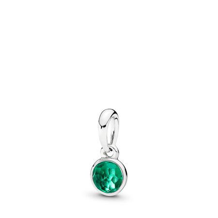 May Droplet Pendant, Royal-Green Crystal, Sterling silver, Green, Crystal - PANDORA - #390396NRG