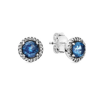 Sterling silver stud earrings with moonlight blue crystal and clear cubic zirconia