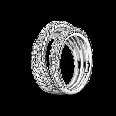 Triple Band Pavé Snake Chain Pattern Ring