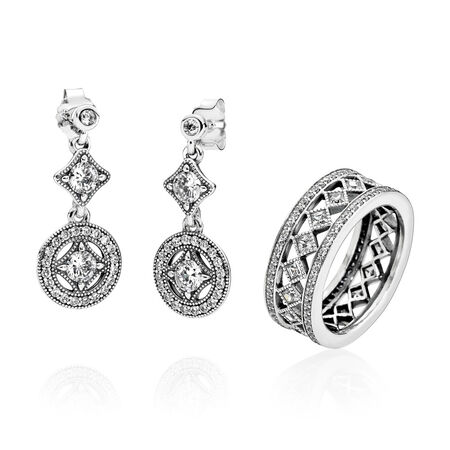 Vintage Allure Drop Earrings, Clear CZ