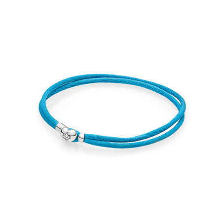 Fabric Cord Bracelet, Turquoise, Sterling silver, Textile/ synthetical fibers, Turquoise - PANDORA - #590749CTQ-S