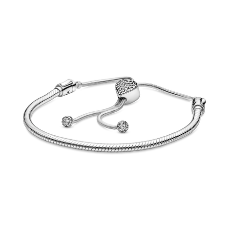 Snake chain sterling silver slider bracelet and heart clasp with clear cubic zirconia