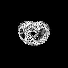 Snake Chain Pattern Open Heart Charm