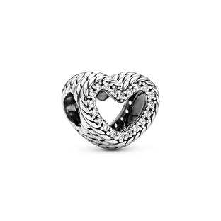 Snake Chain Pattern Open Heart Charm