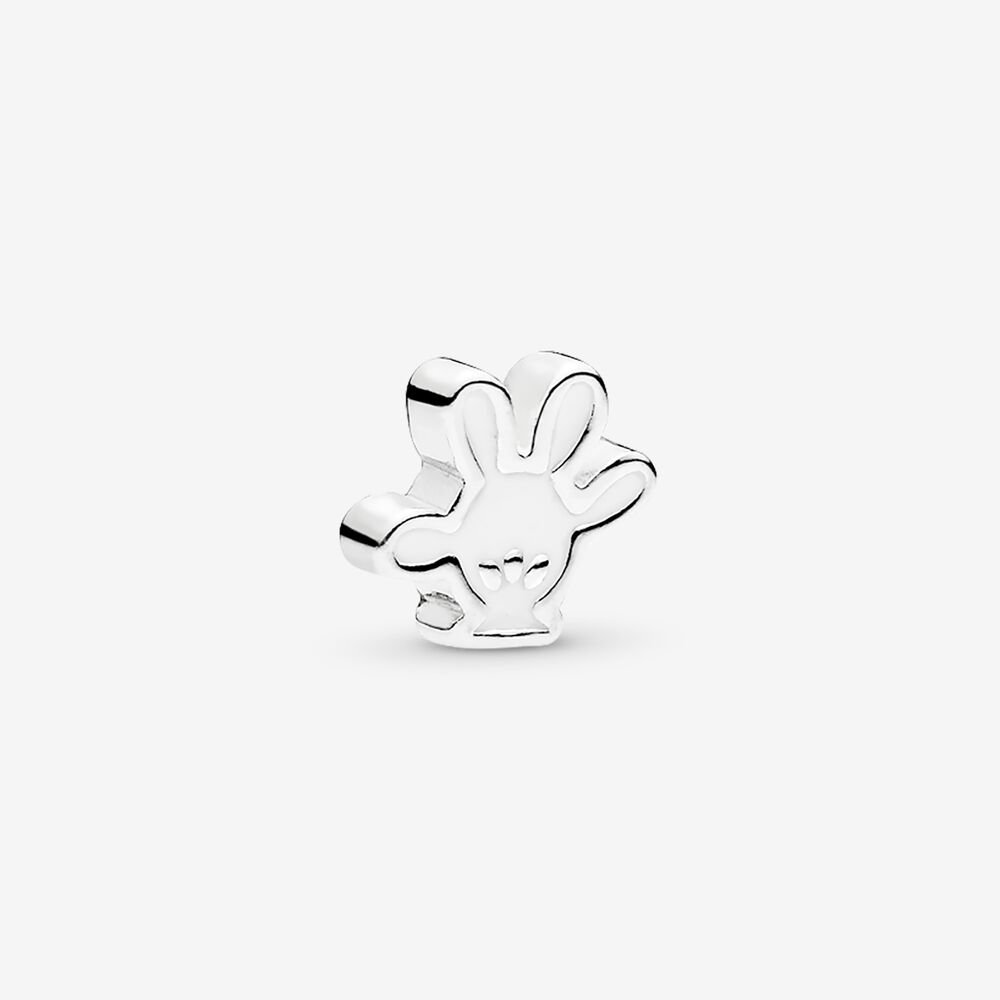 Disney, Mickey Glove Petite Locket Charm, White Enamel
