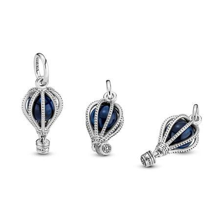Hot Air Balloon Dangle Charm, Sterling silver, Blue, Crystal - PANDORA - #798064NMB