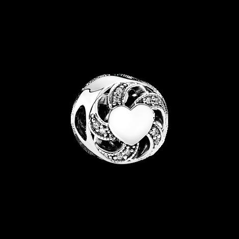 Ribbon Heart Charm, Clear CZ