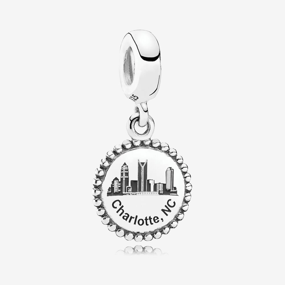Charlotte Dangle Charm, Black Enamel