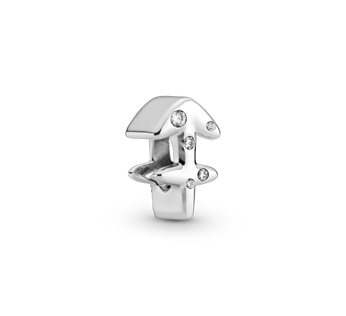 Sagittarius sterling silver charm with clear cubic zirconia