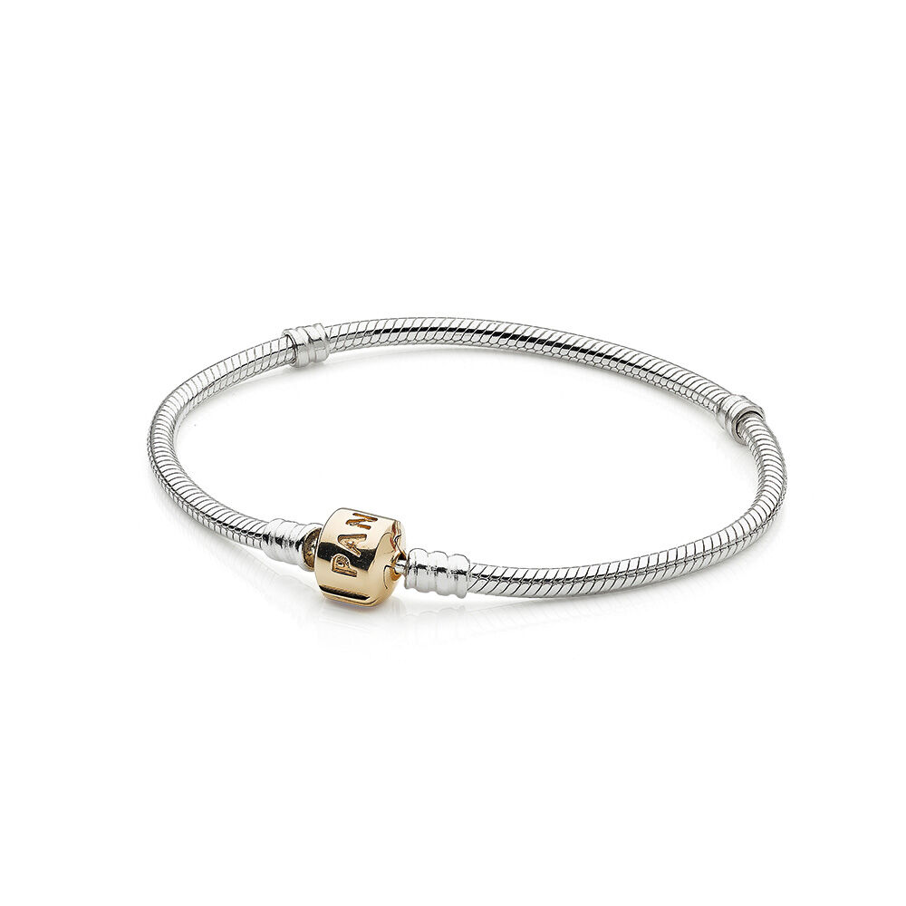 Silver Charm Bracelet With 14K Gold Clasp PANDORA Jewelry US