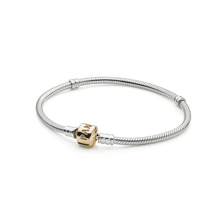 Silver Charm Bracelet With 14K Gold Clasp