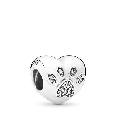 637a9be88 I Love My Pet Charm, Clear CZ Sterling silver, Cubic Zirconia