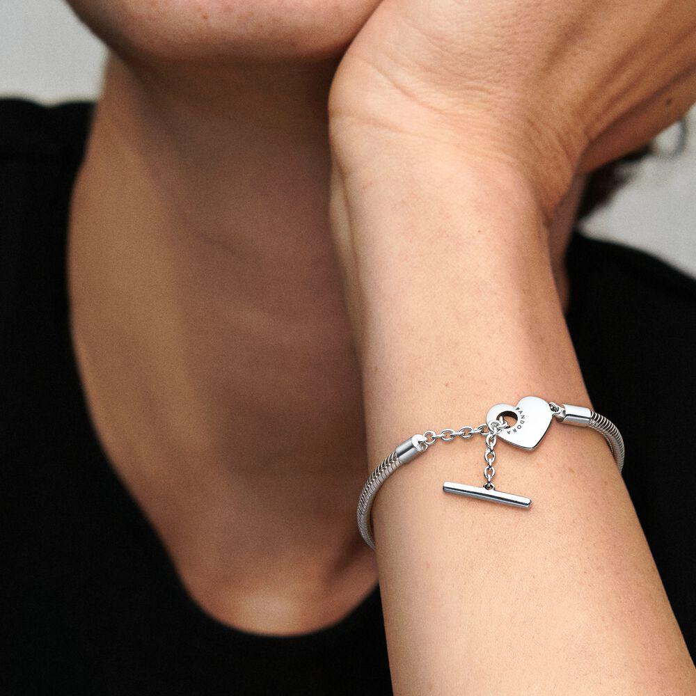 Pandora Moments Heart T-Bar Snake Chain Bracelet | Sterling silver ...