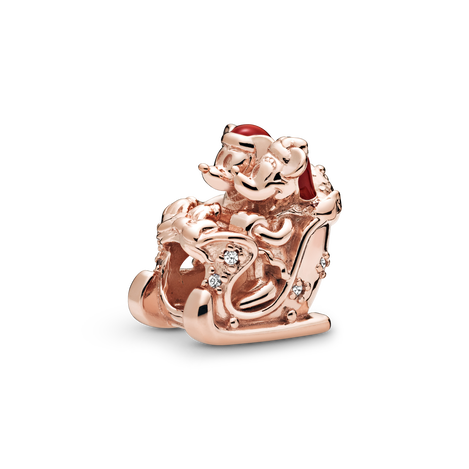 Disney Mickey and Minnie sled Pandora Rose charm with clear cubic zirconia and red enamel
