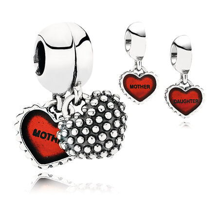 Piece Of My Heart, Daughter, Two-Part Dangle Charm, Red Enamel, Sterling silver, Enamel, Red - PANDORA - #790950EN27