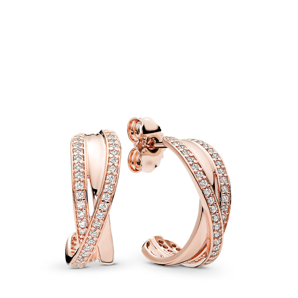0d914a0d3 Entwined Hoop Earrings, PANDORA Rose™ & Clear CZ