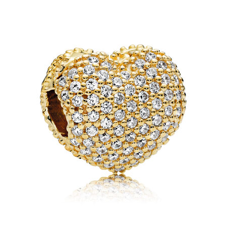 Pave Open My Heart Clip, PANDORA Shine™ & Clear CZ, 18ct Gold Plated, Cubic Zirconia - PANDORA - #767156CZ
