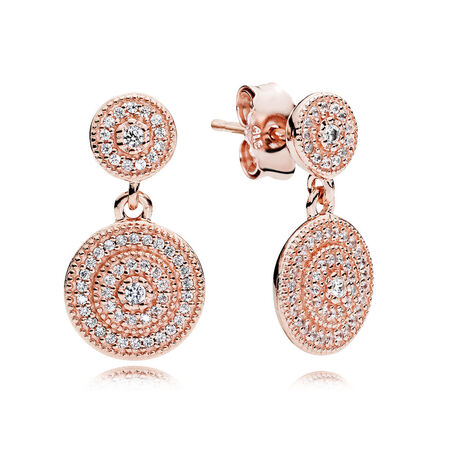 Radiant Elegance Drop Earrings, PANDORA Rose™ & Clear CZ