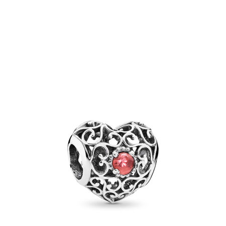 January Signature Heart Charm, Garnet, Sterling silver, Red, Garnet - PANDORA - #791784GR