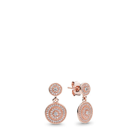 Radiant Elegance Drop Earrings, PANDORA Rose™ & Clear CZ, PANDORA Rose, Cubic Zirconia - PANDORA - #280688CZ