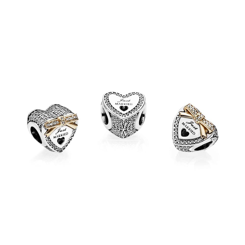 Wedding Charm Bracelet: Wedding Heart Charm, Clear CZ