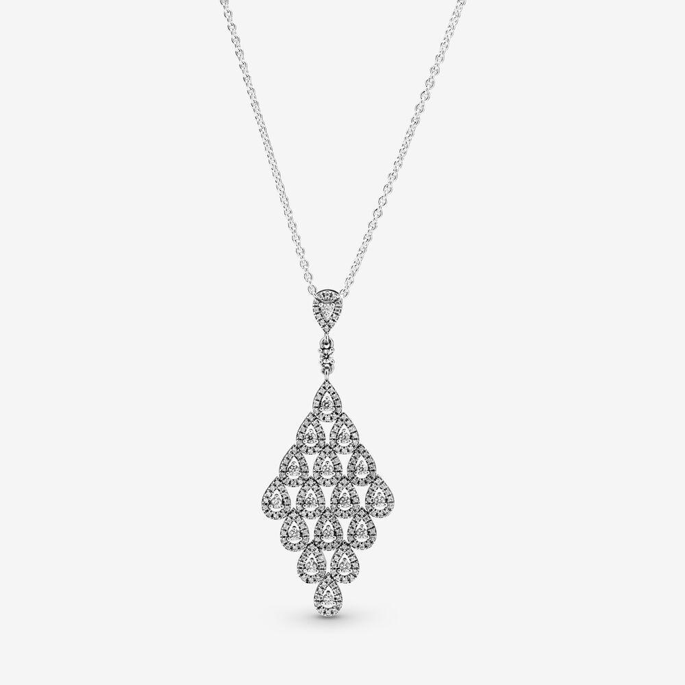 Sparkling Teardrop Chandelier Pendant Necklace