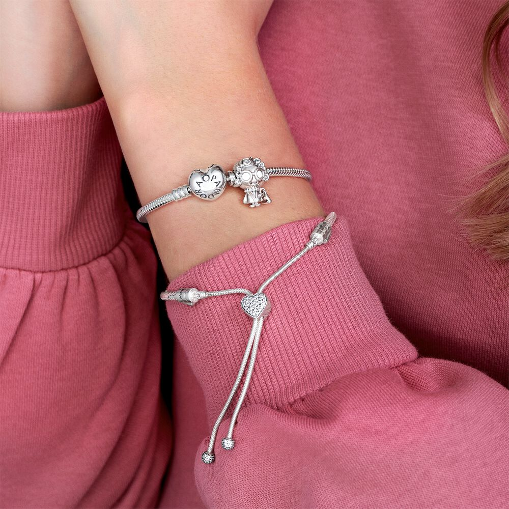 Silver Charm Bracelet with Heart Clasp | Sterling silver | Pandora US
