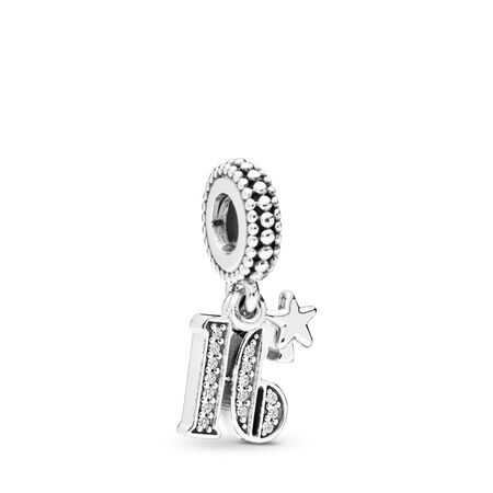 16 Years of Love Dangle Charm, Clear CZ