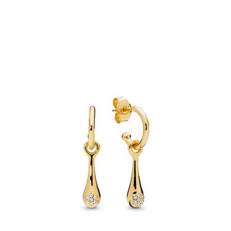 Modern LovePods™ Earrings, PANDORA Shine™ & Clear CZ, 18ct Gold Plated, Cubic Zirconia - PANDORA - #267357CZ