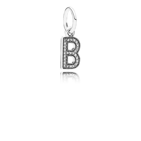 Letter B Dangle Charm, Clear CZ