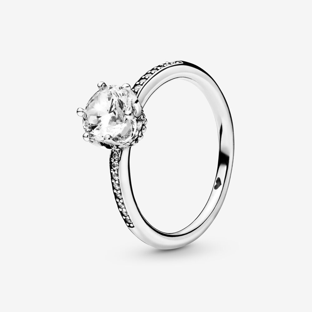 Clear Sparkling Crown Solitaire Ring | Sterling silver | Pandora US