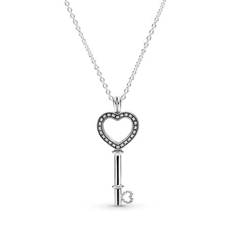 Floating Locket Heart Key Necklace, Sapphire Crystal & Clear CZ