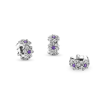 Forget Me Not Spacer, Purple & Clear CZ