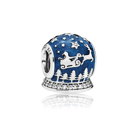 Christmas Night Charm, Midnight Blue Enamel & Clear CZ
