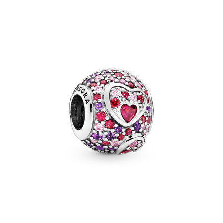 Asymmetric Hearts of Love Charm, Red & Pink CZ, Royal Purple Crystals
