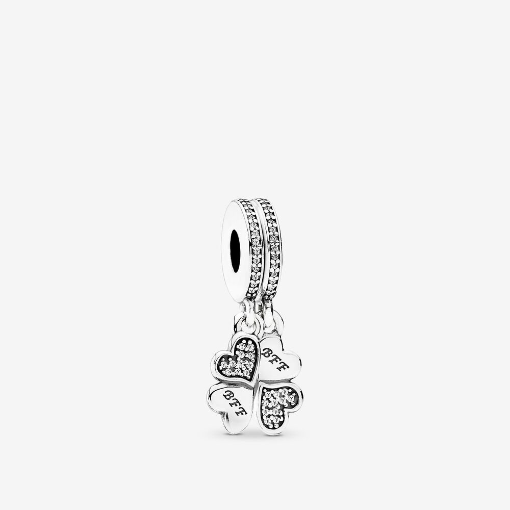 Best Friends Forever Dangle Charm, Clear CZ