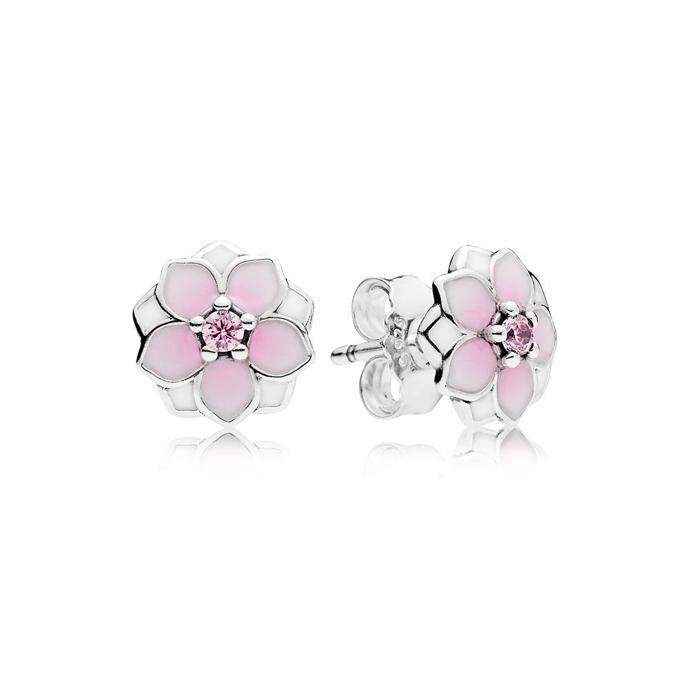 Magnolia Bloom Stud Earrings Pale Cerise Enamel Pink Cz