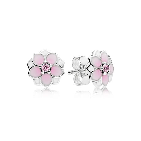 Magnolia Bloom Stud Earrings, Pale Cerise Enamel & Pink CZ