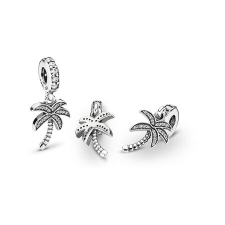 Sparkling Palm Tree Dangle Charm, Clear CZ, Sterling silver, Cubic Zirconia - PANDORA - #791540CZ