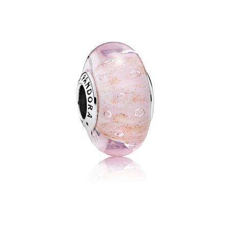 Pink Glitter Charm, Murano Glass