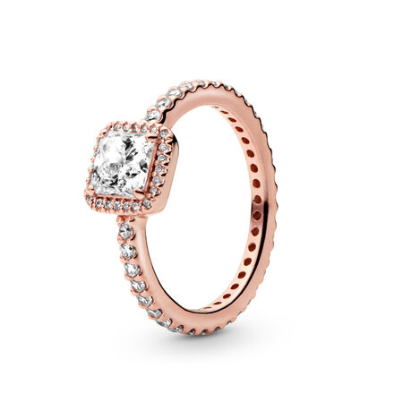 bb2049bea Square Sparkle Ring PANDORA Rose, Cubic Zirconia