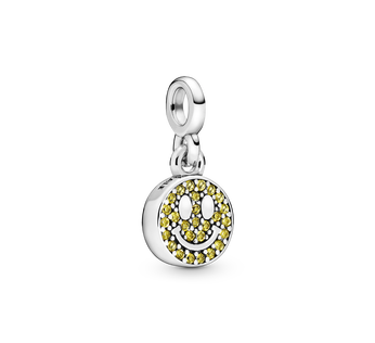 Smiley sterling silver dangle charm with limelight yellow crystal