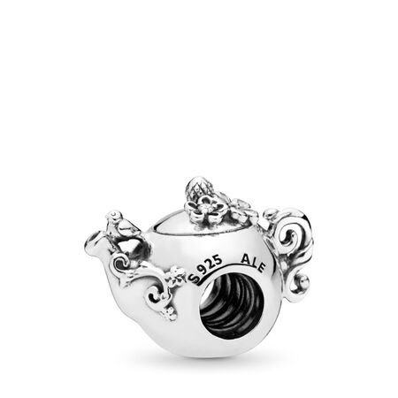 Enchanted Tea Pot Charm, Clear CZ