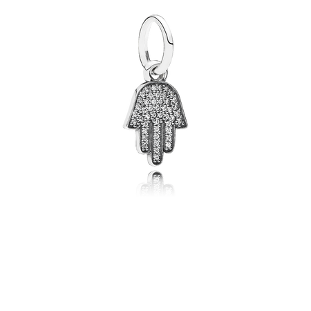 Symbol Of Protection Dangle Charm, Clear CZ